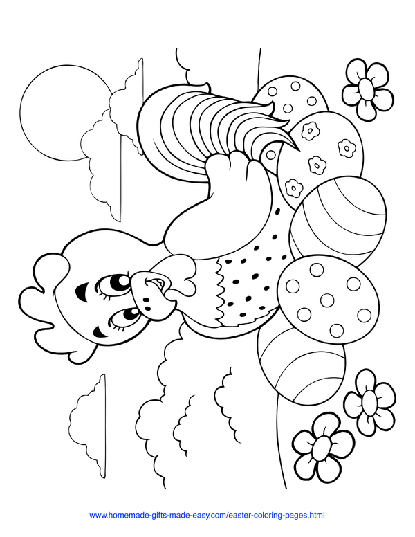 Easter Coloring Pages - hen with decorated eggs and flowers