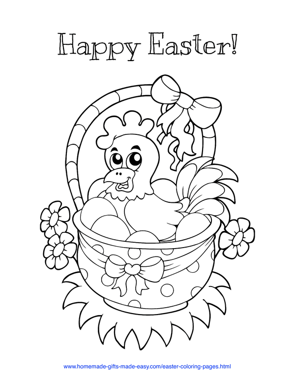 Easter Coloring Pages - hen on eggs in basket