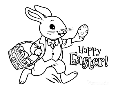 Easter Coloring Pages Hopping Bunny With Egg Basket