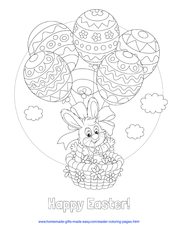 Easter Coloring Pages - bunny in hot air balloon with egg-shaped balloons