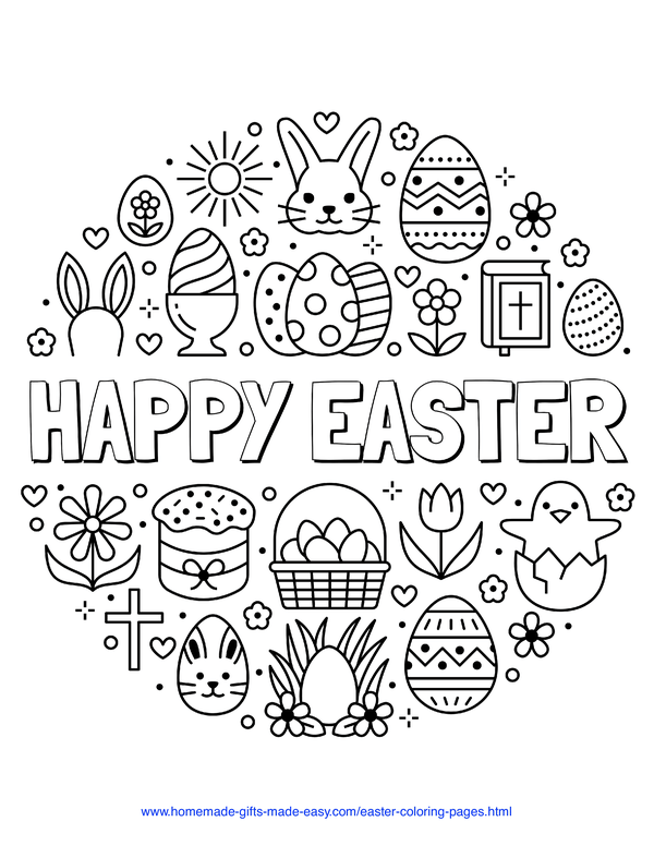 Easter Coloring Pages - Happy Easter message with cross, bible, eggs, rabbits, chicks, and flowers