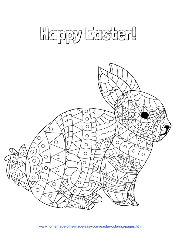 Easter Coloring Pages - intricate rabbit doodle adult