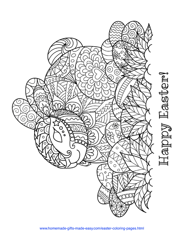Easter Coloring Pages - intricate rabbit and eggs doodle adult