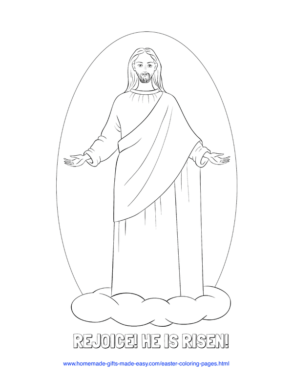 Easter Coloring Pages - Jesus ascension rejoice He is risen