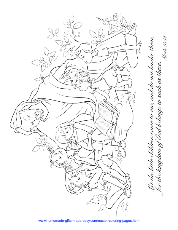 Easter Coloring Pages - Jesus with children Mark 10:14