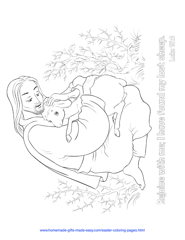 Easter Coloring Pages - Jesus rejoice in the finding of lost sheep Luke 15:6