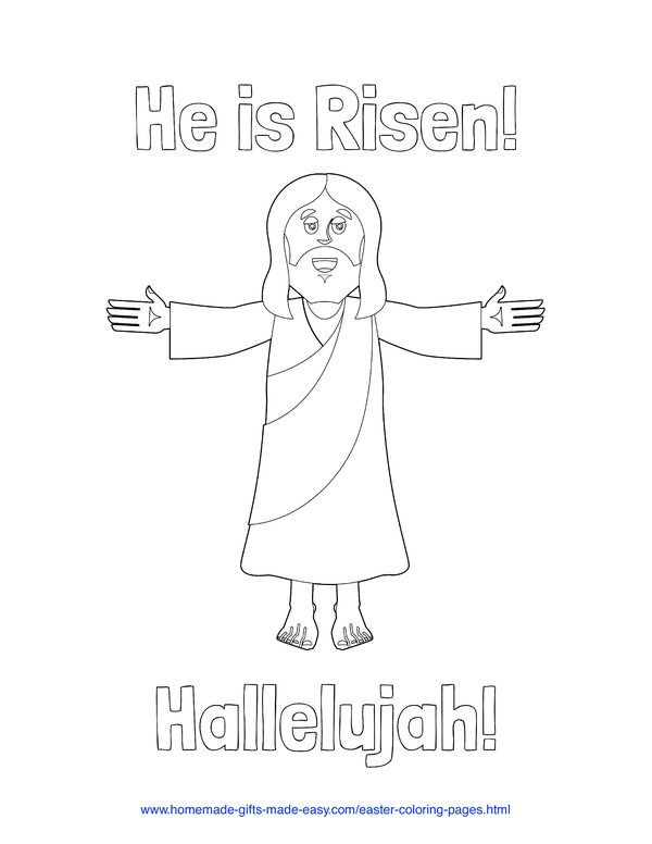 Easter Coloring Pages - Jesus resurrection He is risen hallelujah