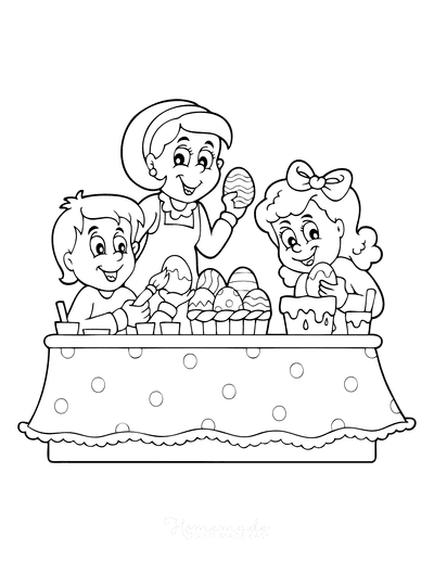 Easter Coloring Pages Kids Decorating Eggs