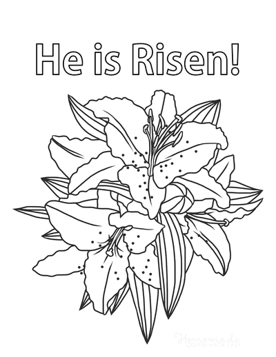 Easter Coloring Pages Lilies He Is Risen