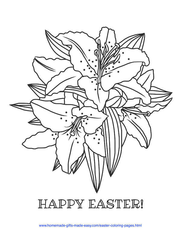 Easter Coloring Pages - lillies Happy Easter