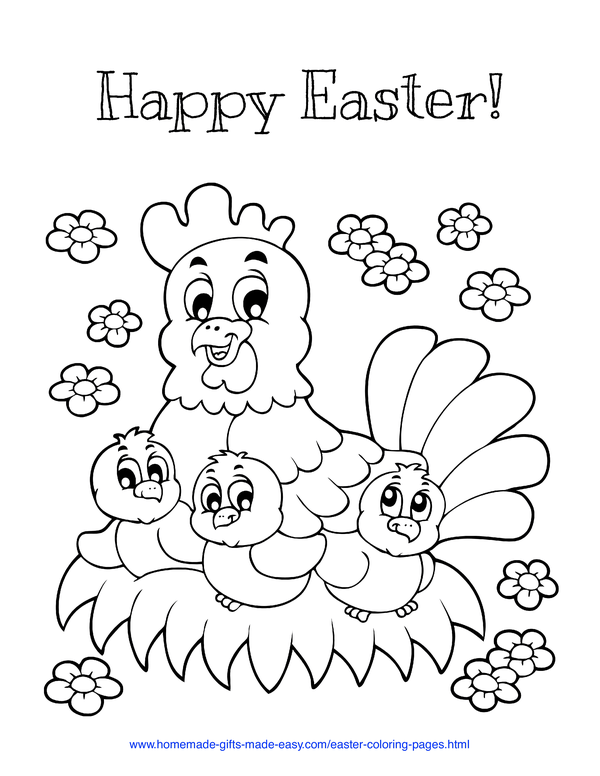 Easter Coloring Pages - mother hen with chicks on nest