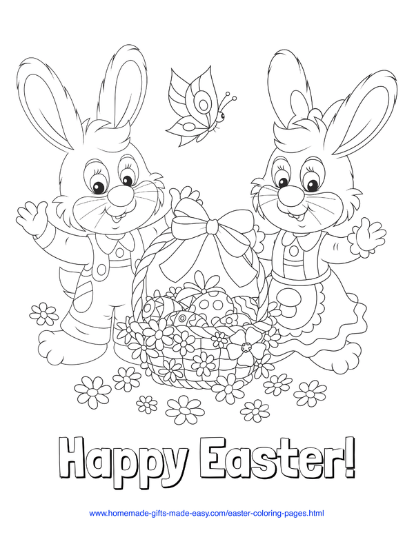 Easter Coloring Pages - Mr and Mrs bunny with basket of eggs, flowers, and butterfly