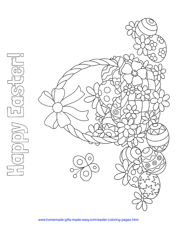 Easter Coloring Pages - overflowing Easter basket with patterned eggs