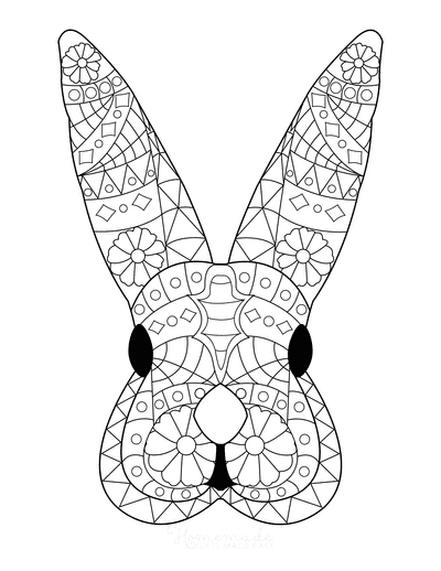 Easter Coloring Pages Patterned Bunny Head for Adults