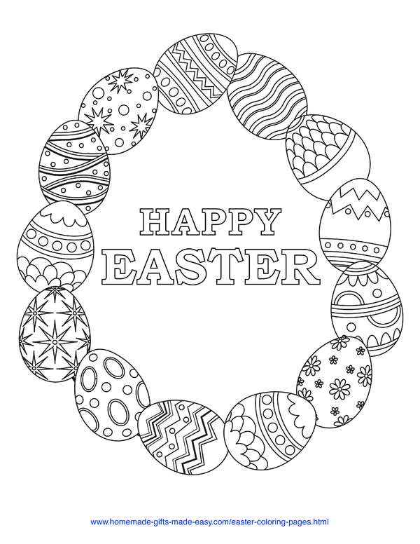 Easter Coloring Pages - egg wreath with Happy Easter message