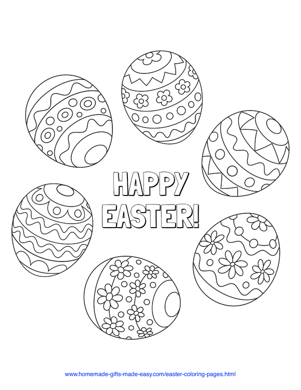 Easter Coloring Pages - patterned eggs circle with Happy Easter message
