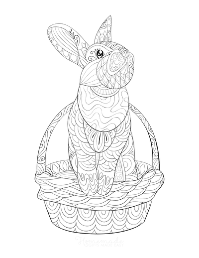 Easter Coloring Pages Patterned Rabbit Basket for Adults