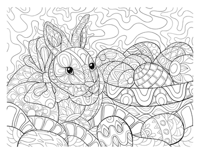 Easter Coloring Pages Patterned Rabbit Eggs Basket for Adults