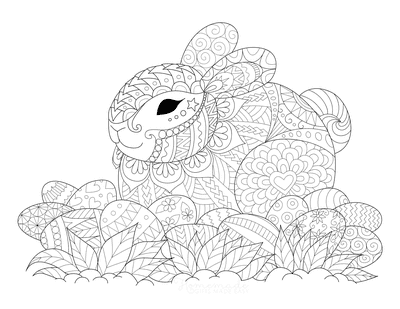 Easter Coloring Pages Patterned Rabbit Eggs Grass for Adults