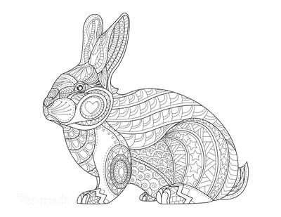 Easter Coloring Pages Patterned Rabbit for Adults