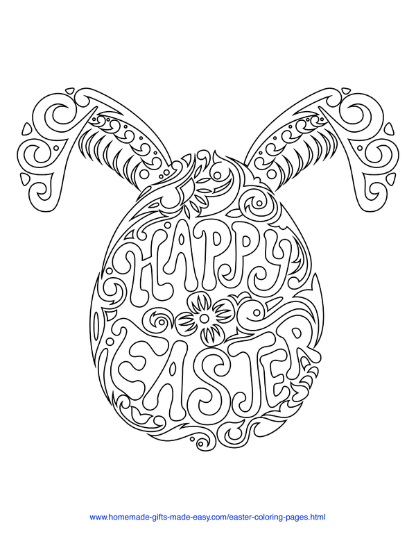 Easter Coloring Pages - bunny head word-art with Happy Easter message