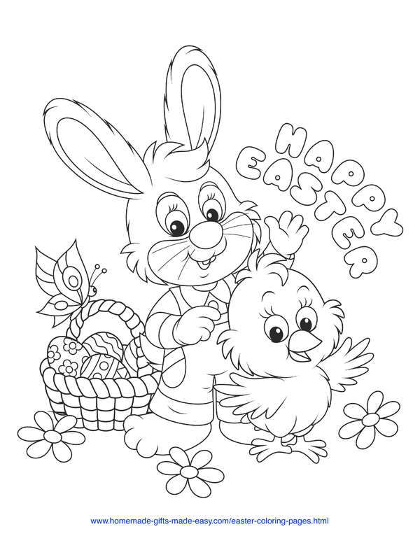 Easter Coloring Pages - rabbit and chick with basket and butterfly