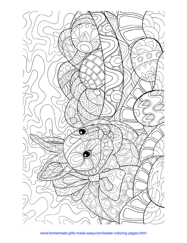 Easter Coloring Pages - rabbit and eggs intricate doodle adult