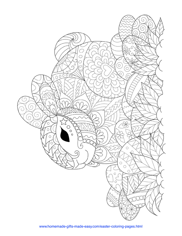 Easter Coloring Pages - rabbit and eggs on the grass intricate doodle adult