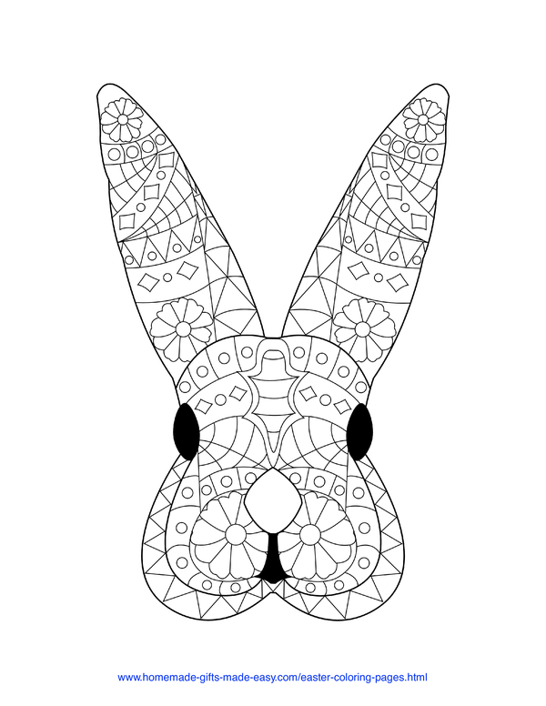 Easter Coloring Pages - rabbit face intricate doodle adult