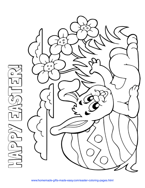 Easter Coloring Pages - rabbit leaning on patterned egg