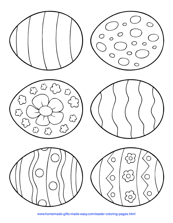 Easter Coloring Pages - six siple patterned eggs to color