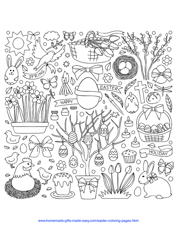 Easter Coloring Pages - spring background with eggs, flowers, chicks and cakes