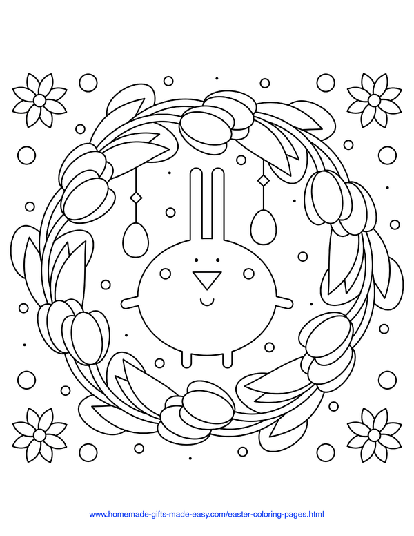 Easter Coloring Pages - stylized bunny tulip wreath with flowers