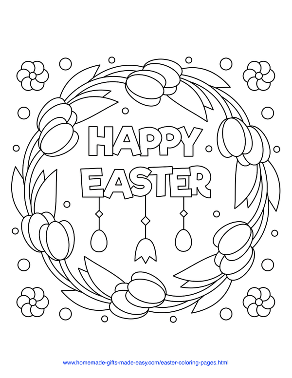 Easter Coloring Pages - happy easter tulip wreath