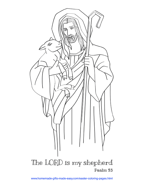 Easter Coloring Pages - The Lord is my shepherd Psalm 23