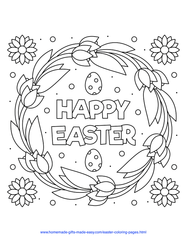 Easter Coloring Pages - Happy Easter tulip wreath with flowers and eggs