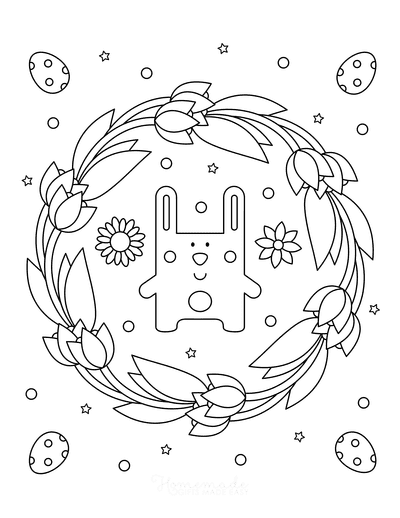 Easter Coloring Pages Tulip Wreath Bunny Eggs