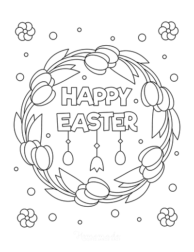 Easter Coloring Pages Tulip Wreath Flowers