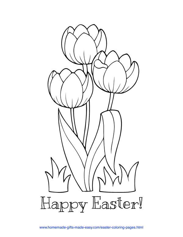 Easter Coloring Pages - tulips with Happy Easter message