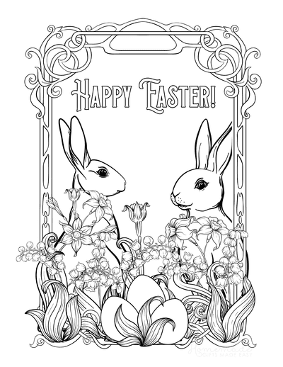 Easter Coloring Pages Vintage Happy Easter Rabbits Eggs Flowers