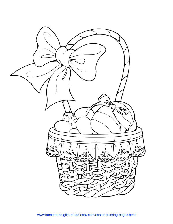 Easter Coloring Pages - woven basket with eggs and bow