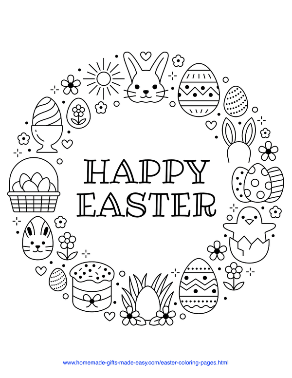 Easter Coloring Pages - wreath with chick, rabbit, eggs, cake, and Happy Easter message