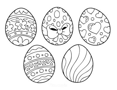 Easter Egg Coloring Pages 5 Patterned Eggs