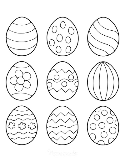 Easter Egg Coloring Pages 9 Patterned Eggs 1