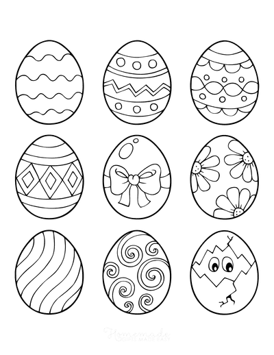 Easter Egg Coloring Pages 9 Patterned Eggs 2