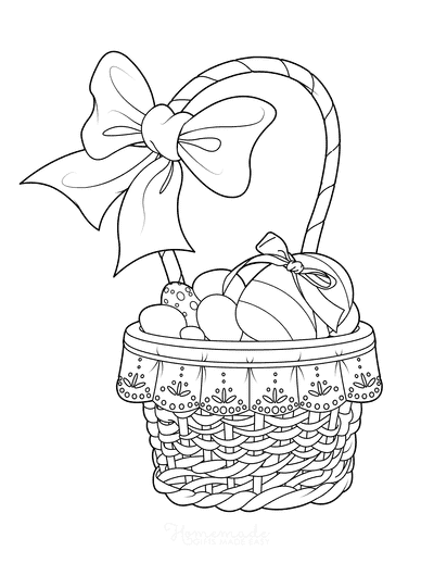 Easter Egg Coloring Pages Basket With Bow Patterned Eggs
