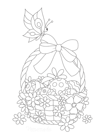 Easter Egg Coloring Pages Basket With Bow Spring Flowers