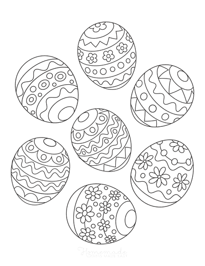Easter Egg Coloring Pages Collection Patterned