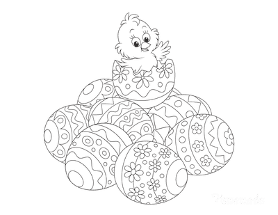 Easter Egg Coloring Pages Cute Chick on Pile Patterned Eggs