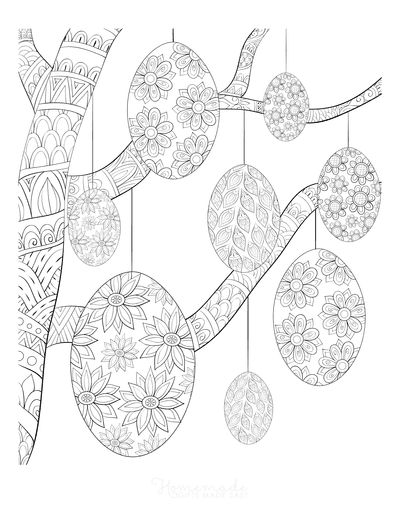 Easter Egg Coloring Pages Decorative Eggs Easter Tree